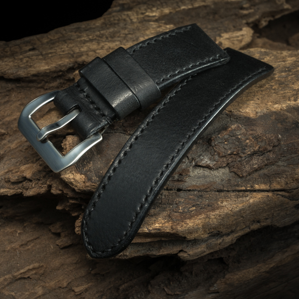ANILINE COWHIDE STRAP (Black, for Panerai)