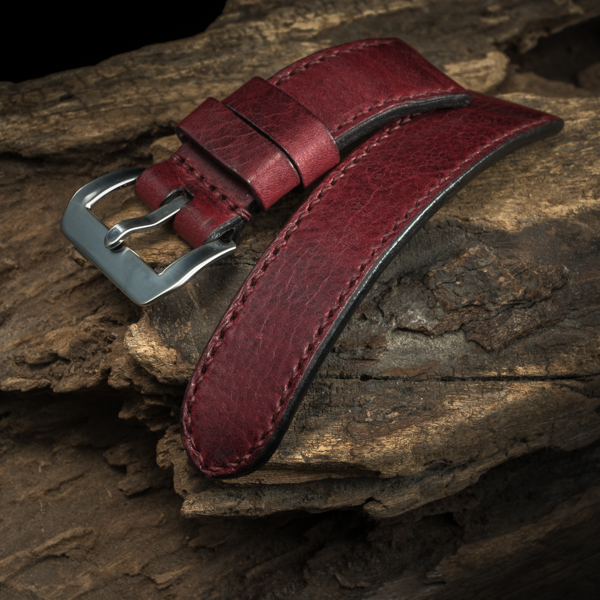 ANILINE COWHIDE STRAP (Burgundy , for Panerai)
