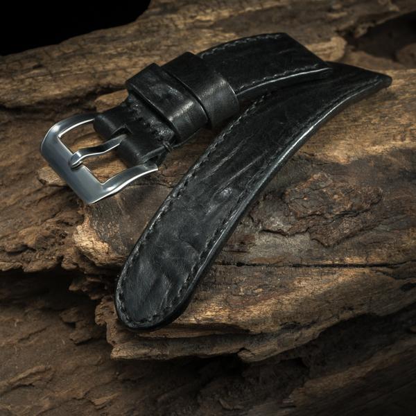 ANILINE COWHIDE STRAP, CREASED (Black, for Panerai)