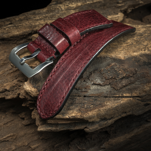 ANILINE COWHIDE STRAP, CREASED (Burgundy , for Panerai)