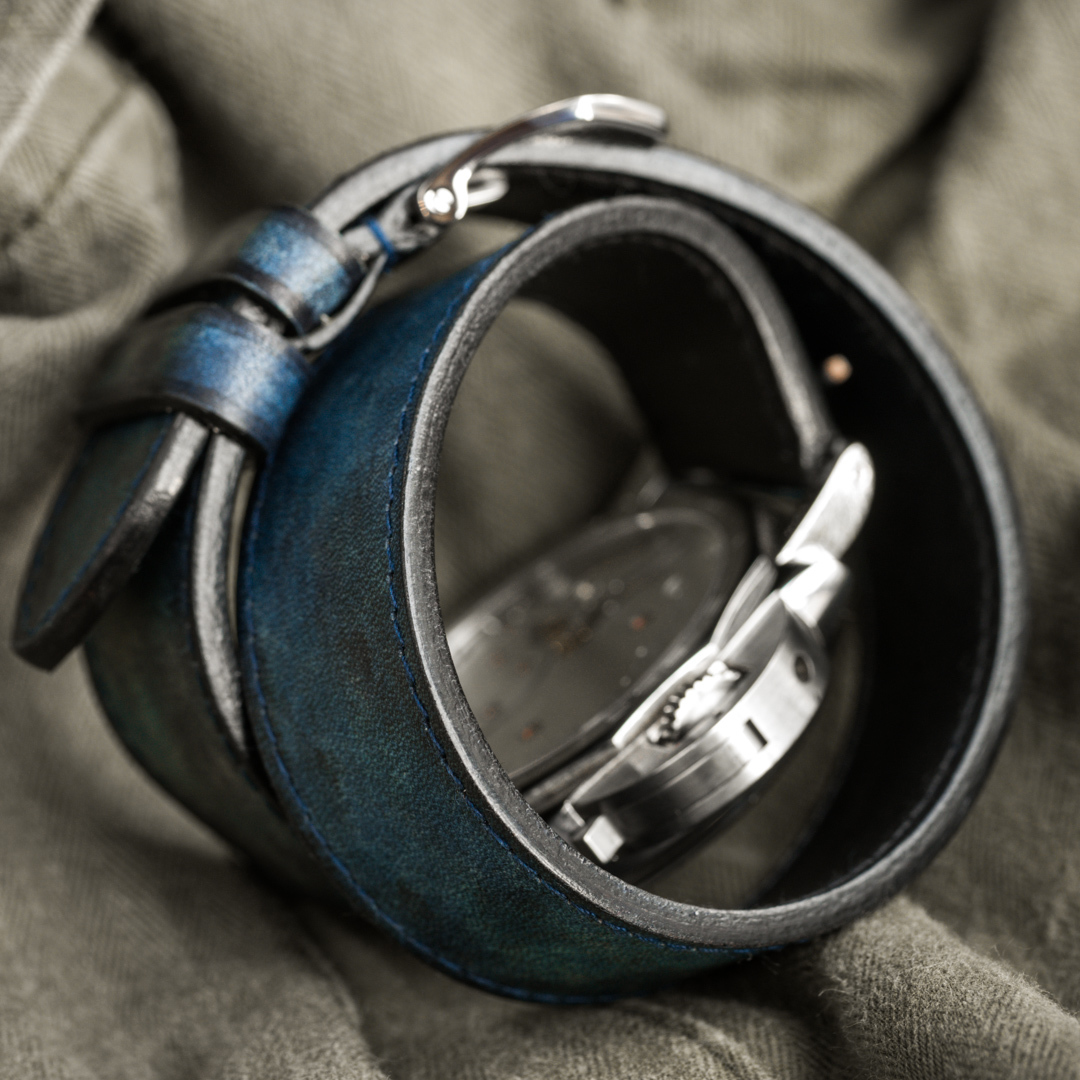 """CAMOUFLAGE"" HAND-DYED COWHIDE LEATHER STRAP, DENIM BLUE (Hermès double tour, for Panerai)"