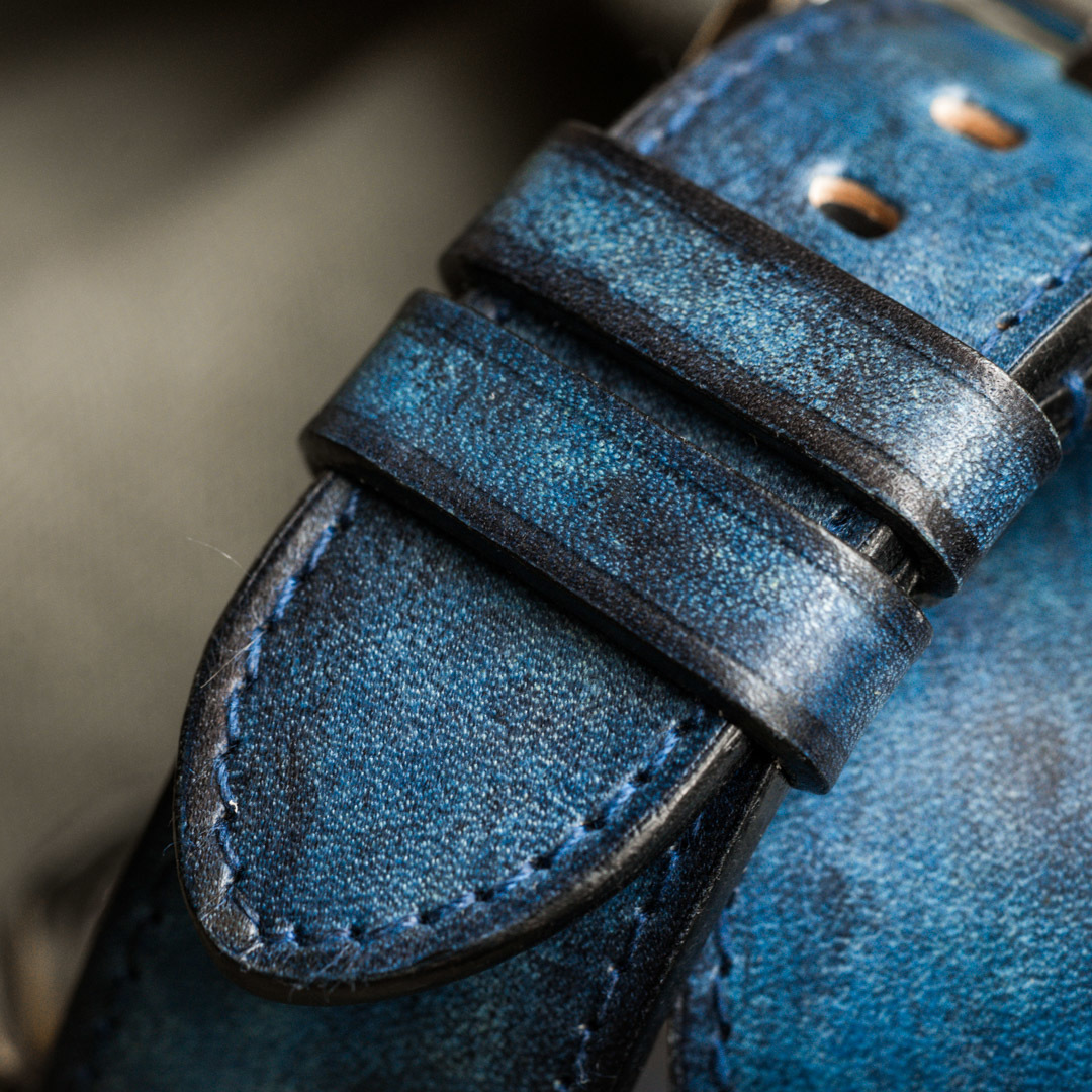 """""""CAMOUFLAGE"""" HAND-DYED COWHIDE LEATHER STRAP, DENIM BLUE (Hermès double tour, for Panerai)"""