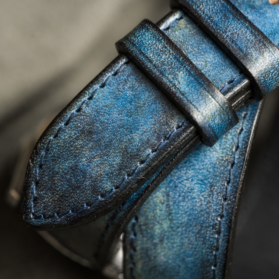 """CAMOUFLAGE"" HAND-DYED COWHIDE LEATHER STRAP, DENIM BLUE (Hermès double tour, for Rolex)"