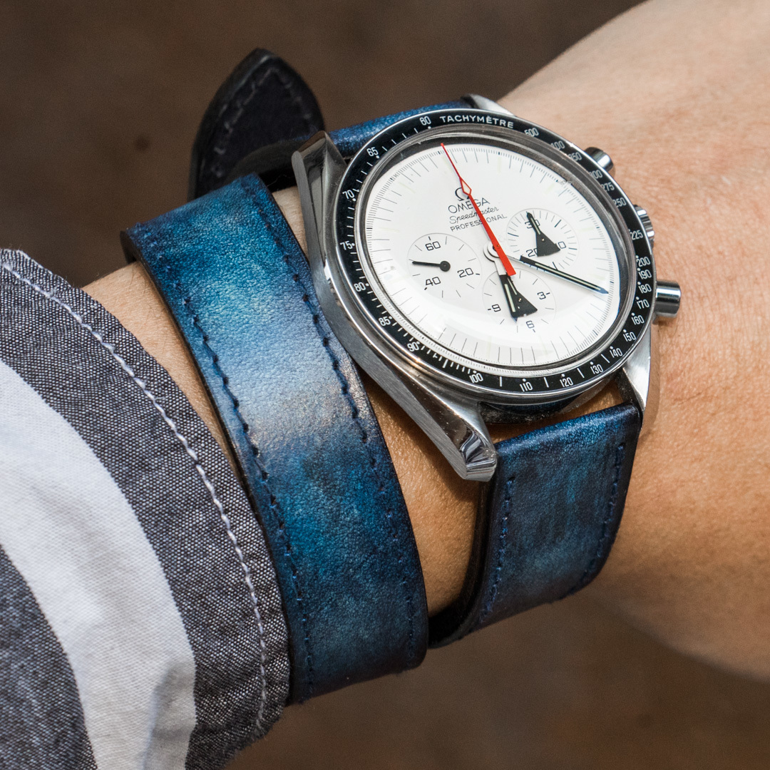 """CAMOUFLAGE"" HAND-DYED COWHIDE LEATHER STRAP, DENIM BLUE (Hermès double tour, for Omega)"