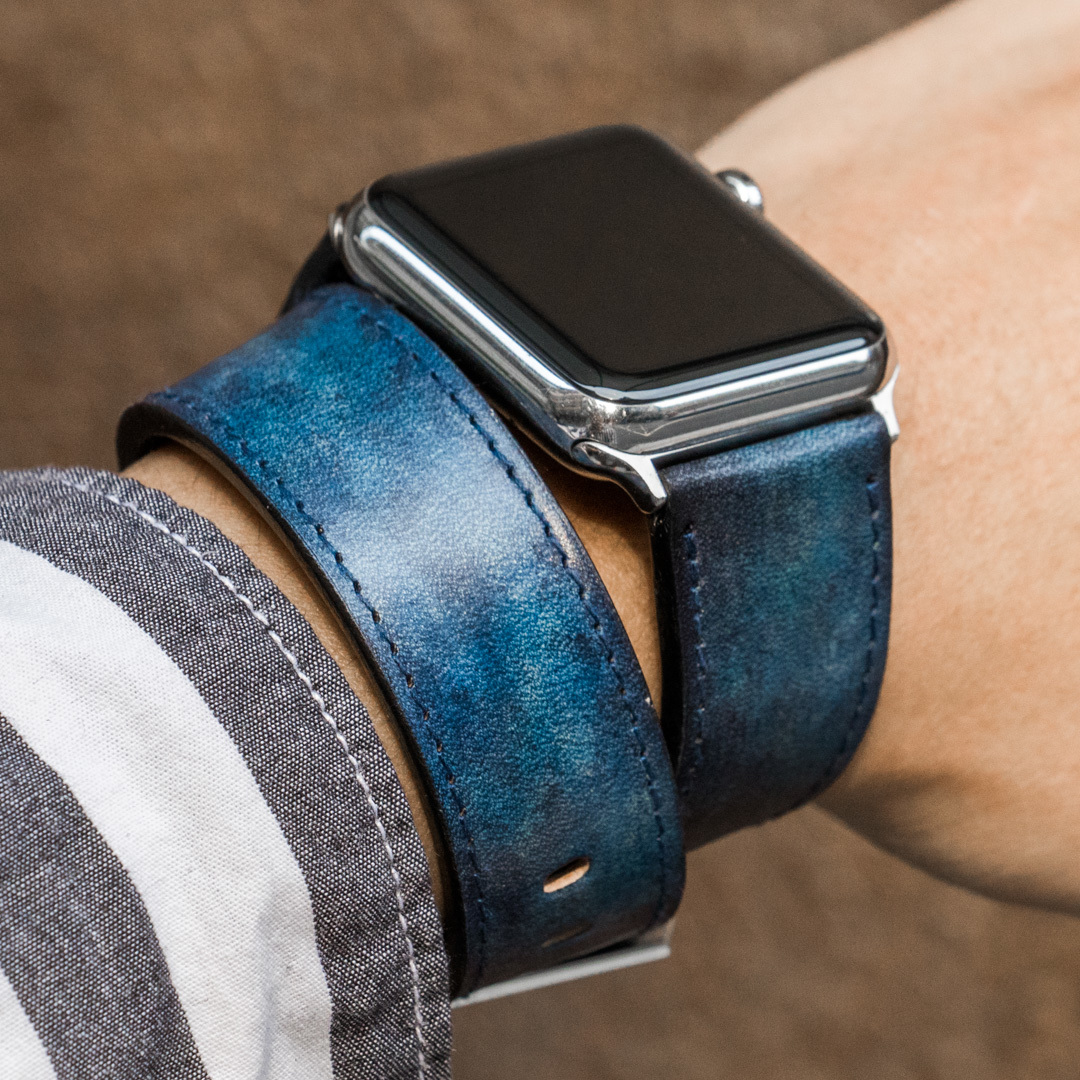 """CAMOUFLAGE"" HAND-DYED COWHIDE LEATHER STRAP, DENIM BLUE (Hermès double tour, for appleWatch)"