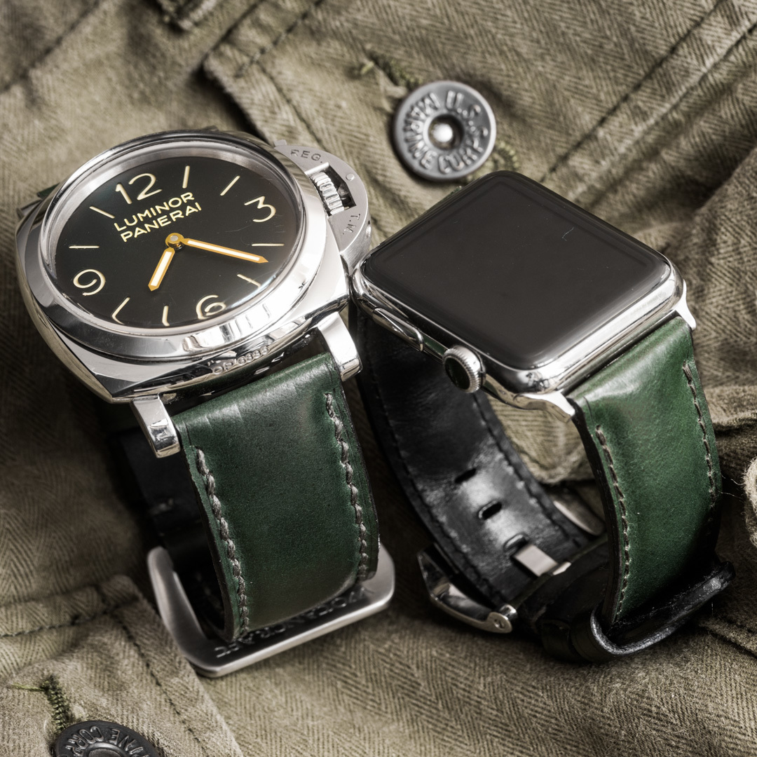 """SHELL CORDOVAN"" HANDMADE LEATHER STRAP, DARK GREEN"