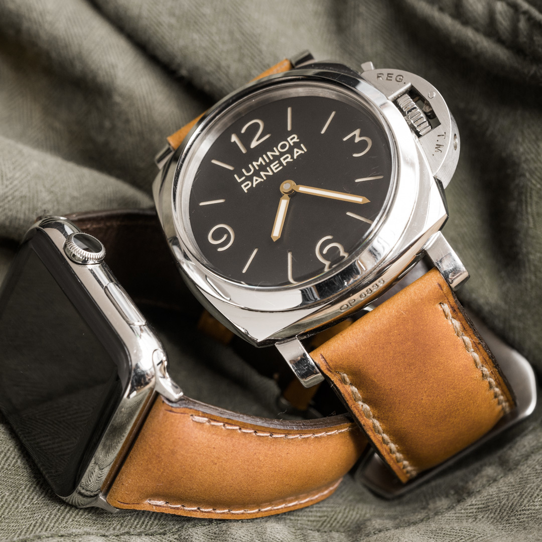 """""""SHELL CORDOVAN"""" HANDMADE LEATHER STRAP, WHISKY"""