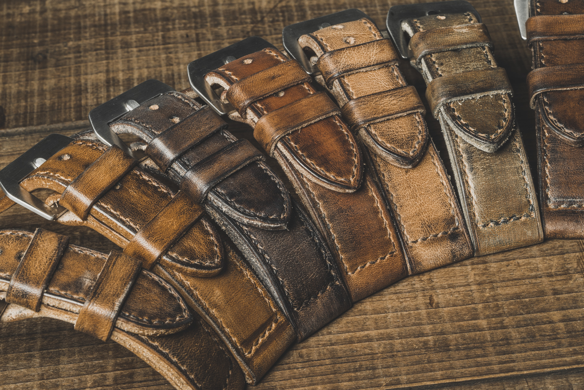 """LEGEND MAKER"" HAND-AGED LEATHER WATCH STRAPS"