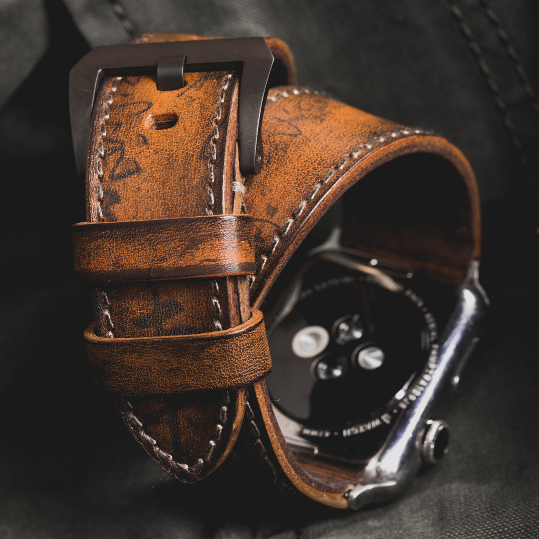 """""""PATH OF WAR"""" CALLIGRAPHY HANDMADE COWHIDE LEATHER STRAP (Hermès double tour style)"""