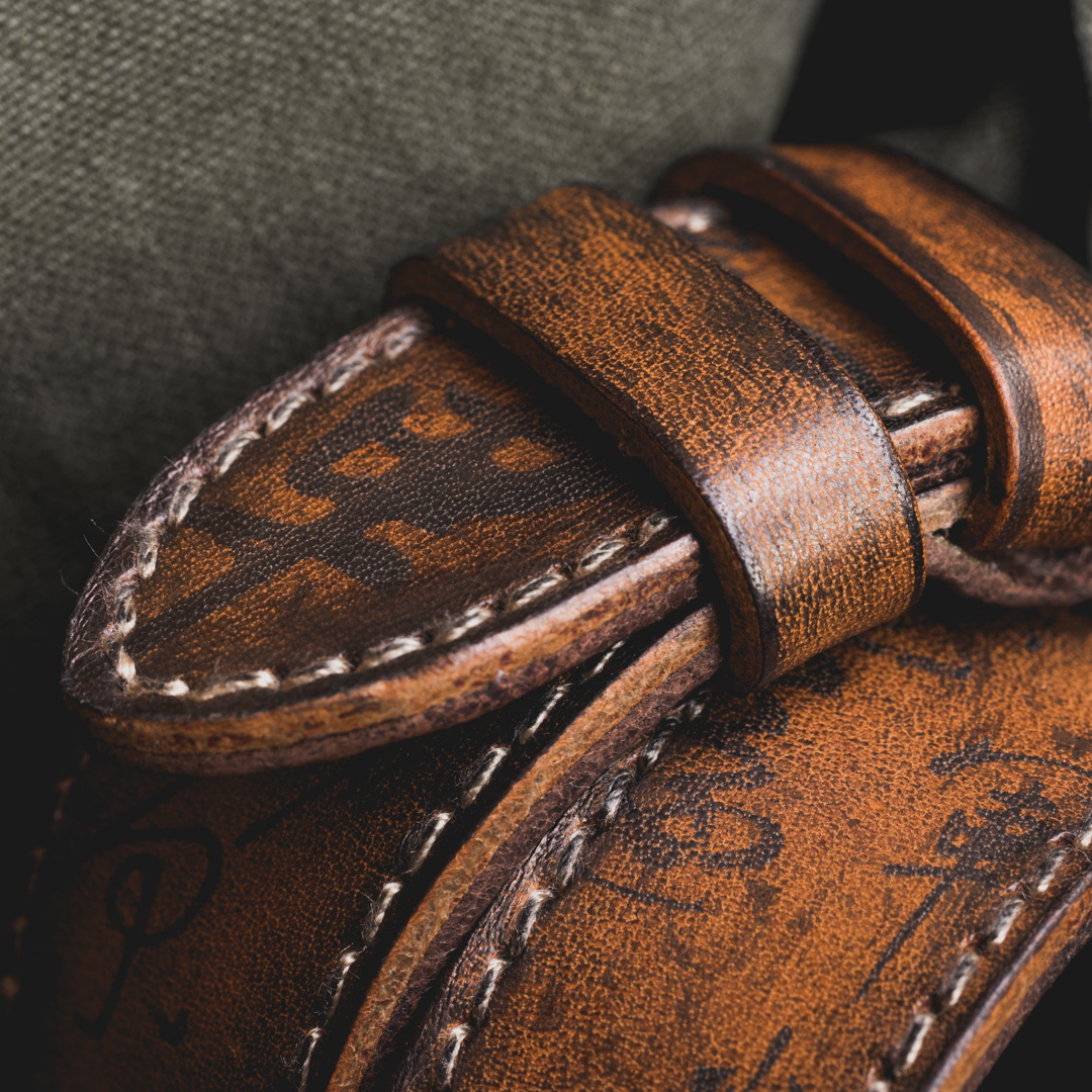 """PATH OF WAR"" CALLIGRAPHY HANDMADE COWHIDE LEATHER STRAP (Hermès double tour style)"