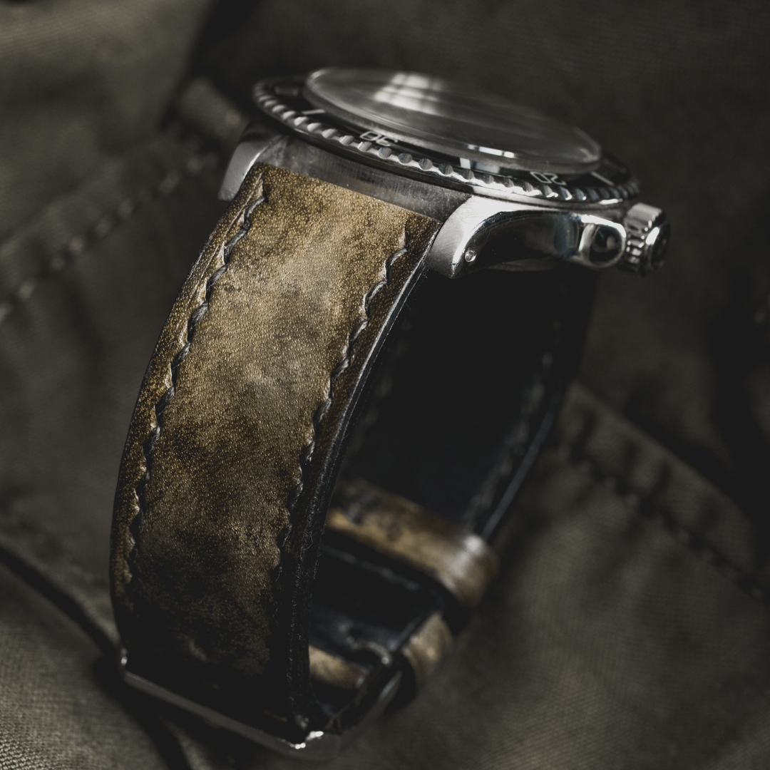 """CAMOUFLAGE"" HAND-DYED COWHIDE LEATHER STRAP, SWAMP GREEN (for Rolex)"