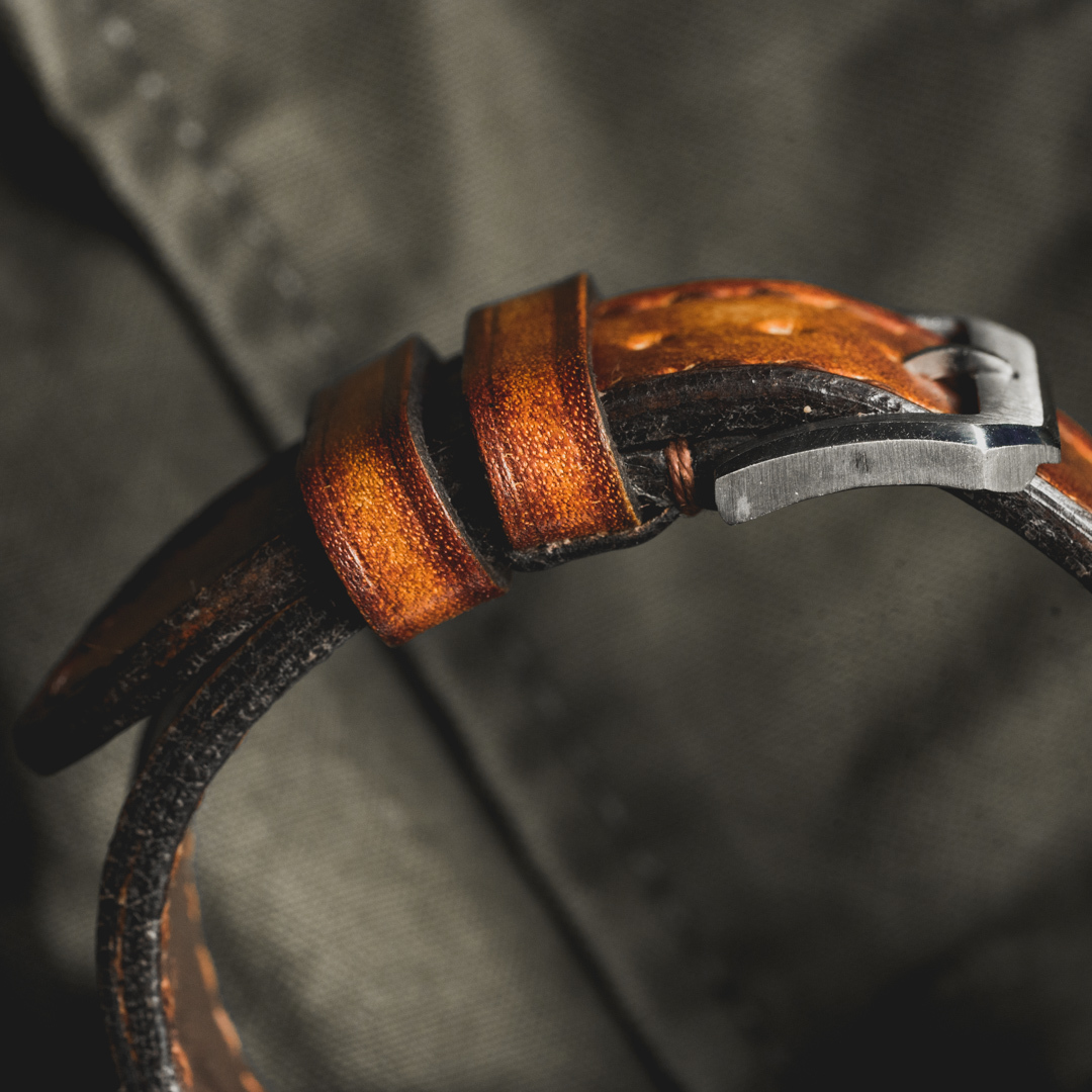 """""""CAMOUFLAGE"""" HAND-DYED COWHIDE LEATHER STRAP, BURNING SUN (for Rolex)"""