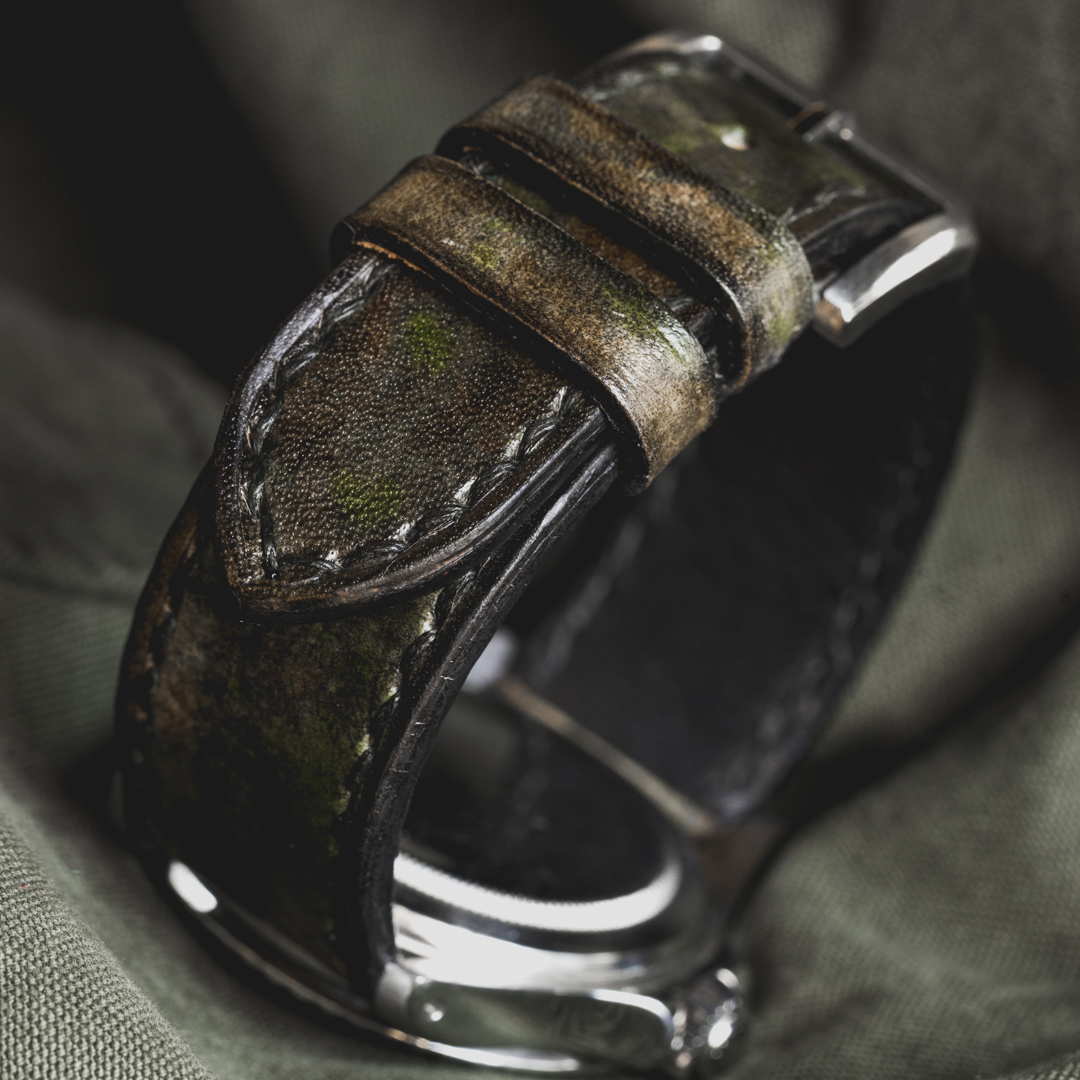 """CAMOUFLAGE"" HAND-DYED COWHIDE LEATHER STRAP, WOODLAND CAMO (for Rolex)"