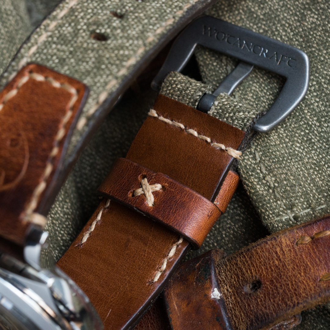"""SALT & PEPPER"" SWISS ARMY RUCKSACK HANDMADE CANVAS STRAP, WITH STAMP (for Panerai)"