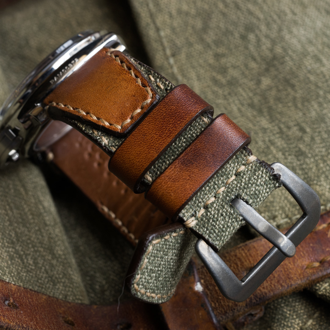 """SALT & PEPPER"" SWISS ARMY RUCKSACK CANVAS STRAP, NO STAMP (for Panerai)"