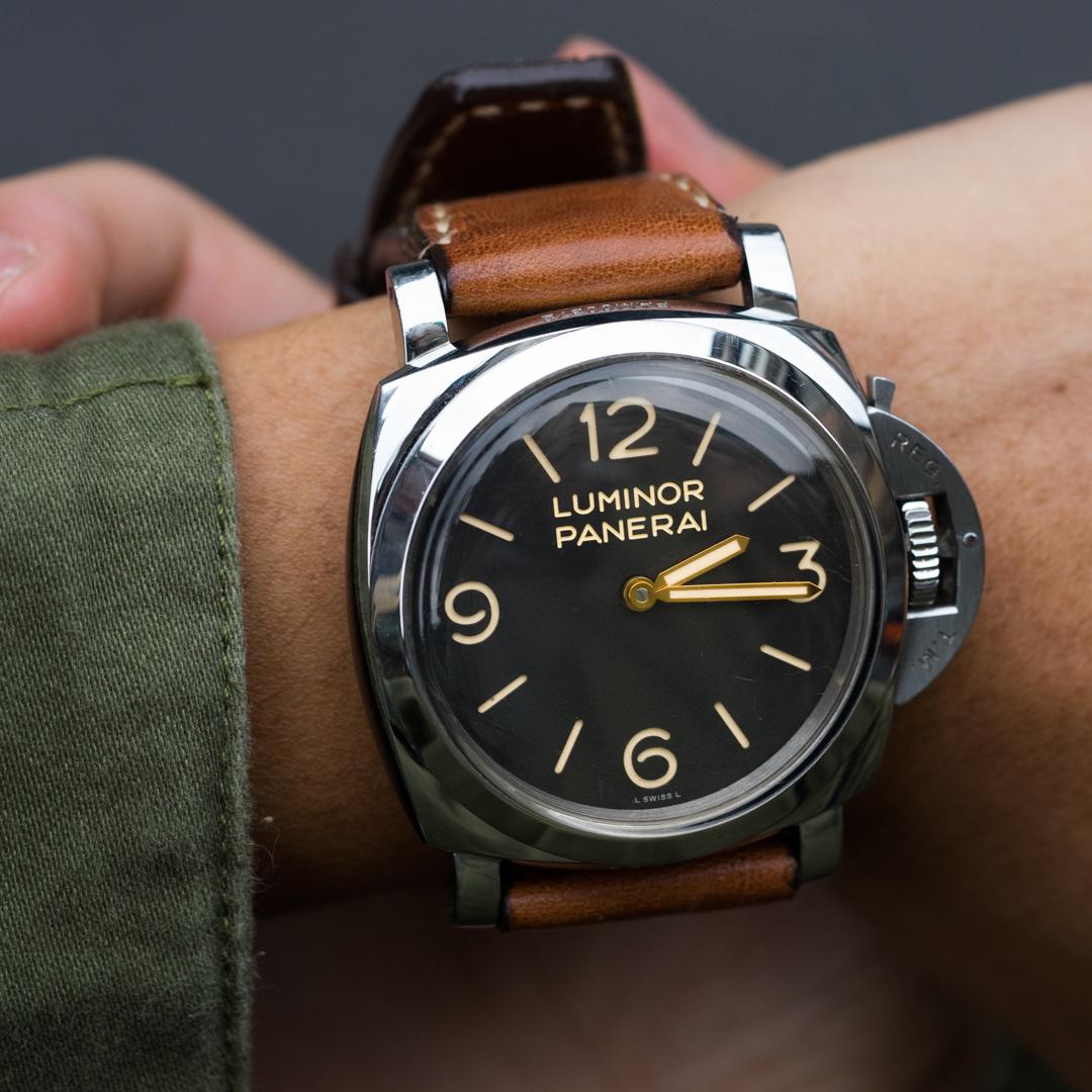 sports shoes 53e63 fecc5 「ソルト&ペッパー」スイス軍リュックキャンバス腕時計ベルト、スタンプなし(パネライ用)