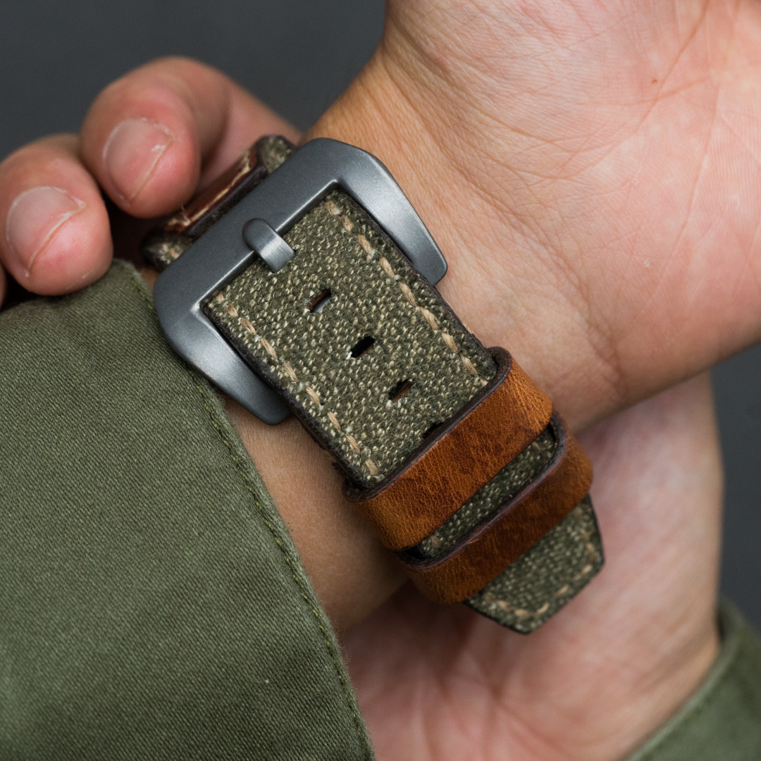 """SALT & PEPPER"" SWISS ARMY RUCKSACK CANVAS STRAP, WITH STAMP (for appleWatch)"