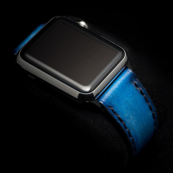 HAND DYED LEATHER STRAP DEEP SEA BLUE #58