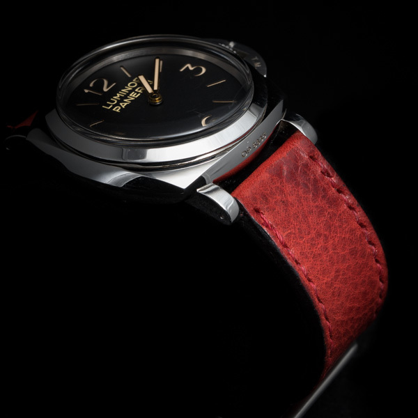 ANILINE COWHIDE STRAP, CREASED (Red , for Panerai)