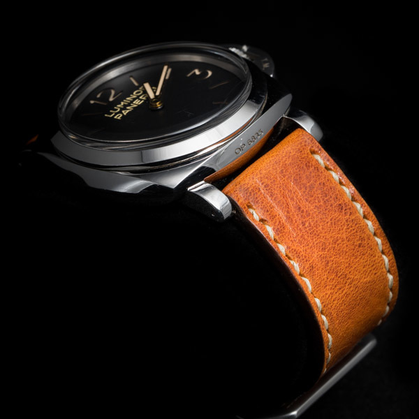 ANILINE COWHIDE STRAP, CREASED (Orange, for Panerai)