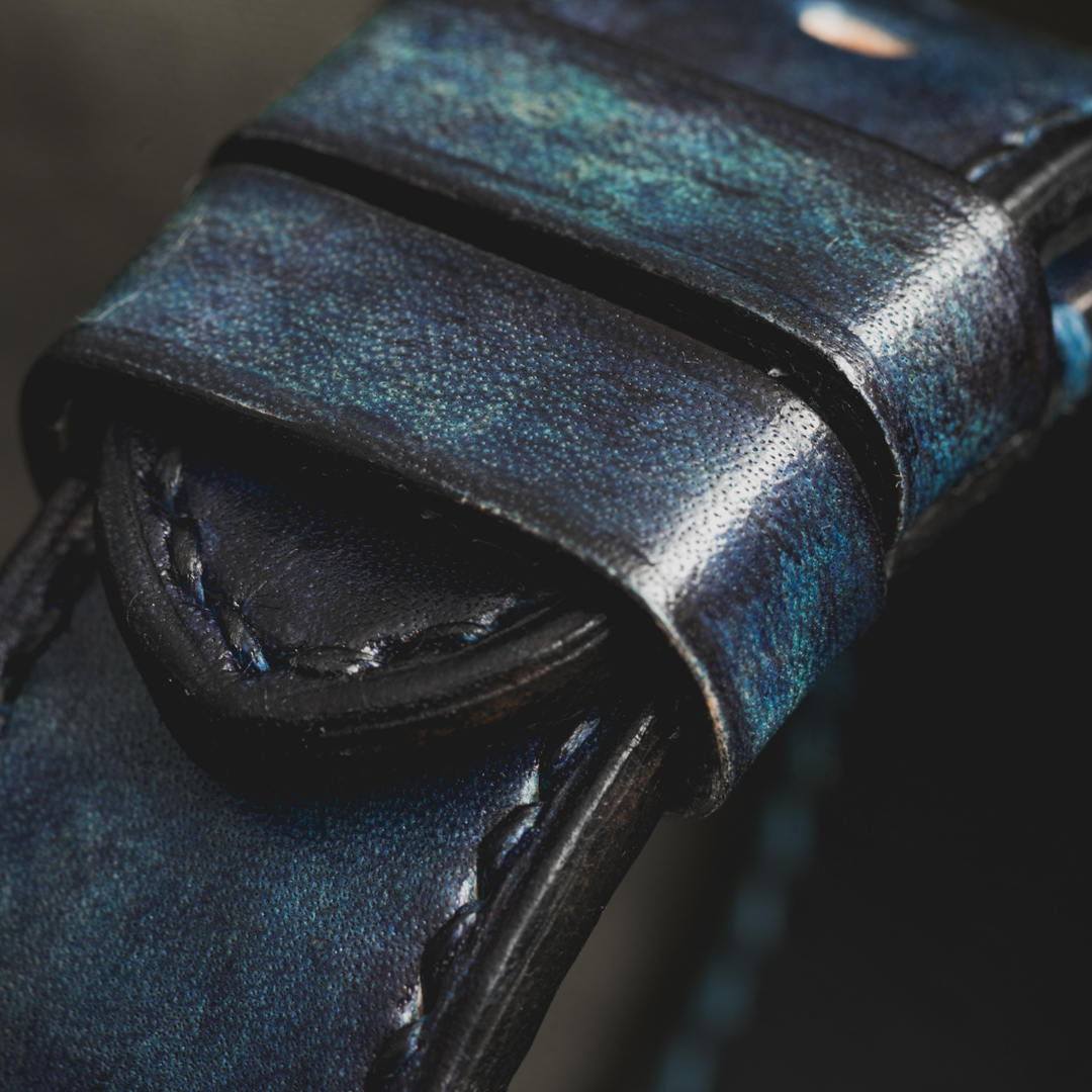 """""""CAMOUFLAGE"""" HAND-DYED COWHIDE LEATHER STRAP, DENIM BLUE (for Panerai)"""