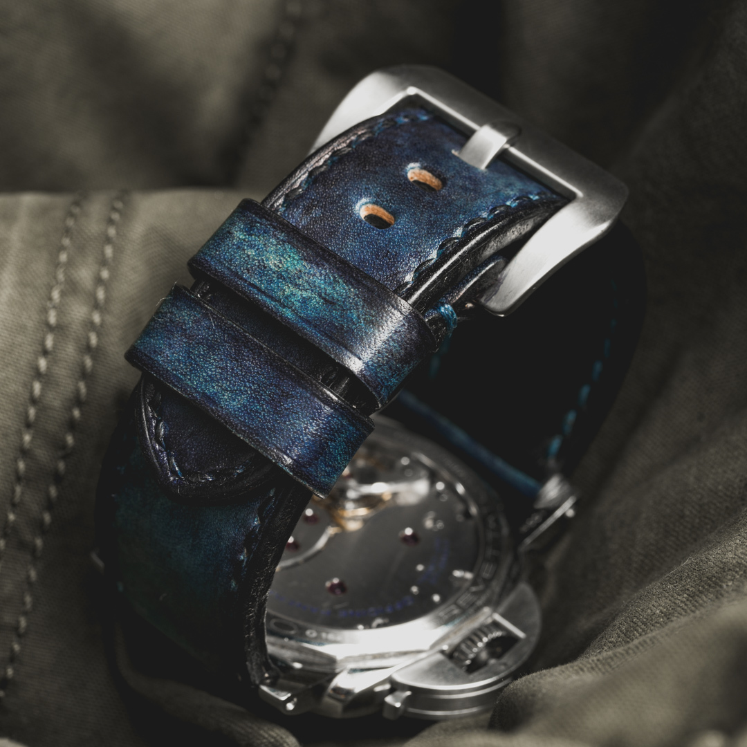 """CAMOUFLAGE"" HAND-DYED COWHIDE LEATHER STRAP, DENIM BLUE (for Panerai)"