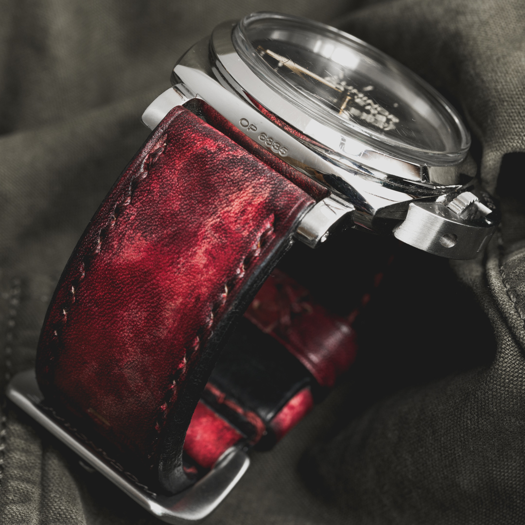 """CAMOUFLAGE"" HAND-DYED COWHIDE LEATHER STRAP, BLOOD RED (for Panerai)"