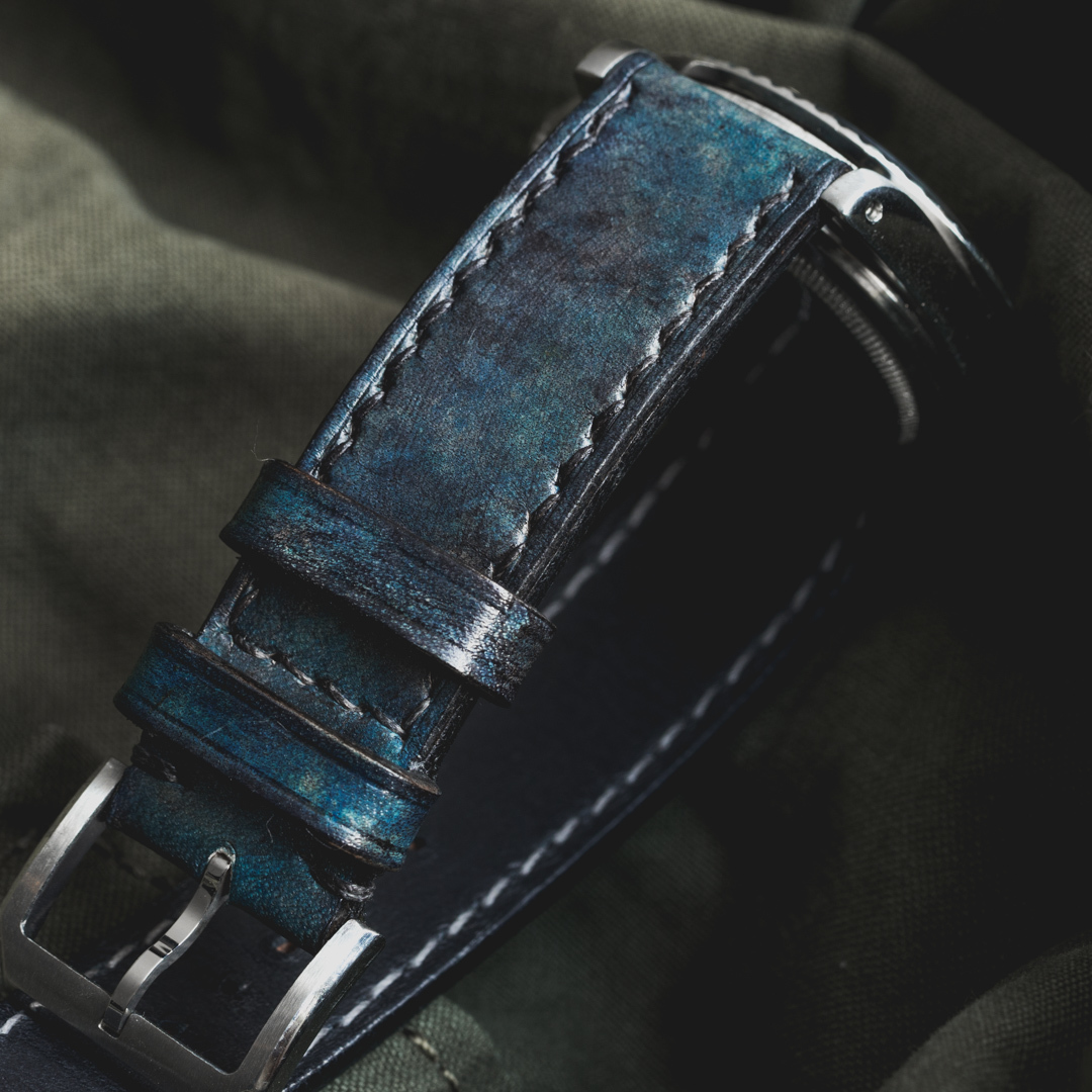 """CAMOUFLAGE"" HAND-DYED COWHIDE LEATHER STRAP, DENIM BLUE (for Rolex)"
