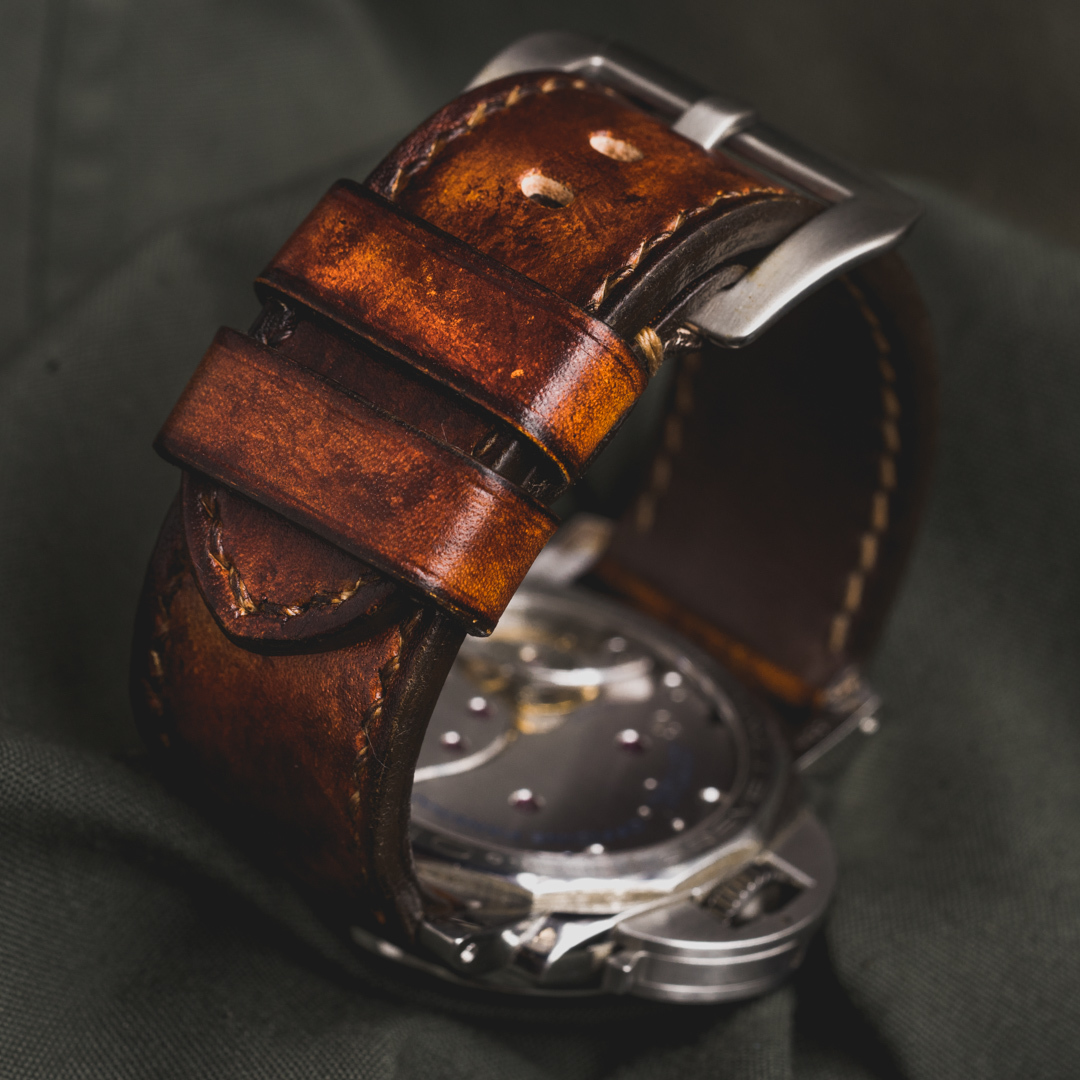 """CAMOUFLAGE"" HAND-DYED COWHIDE LEATHER STRAP, BURNING SUN (for Panerai)"