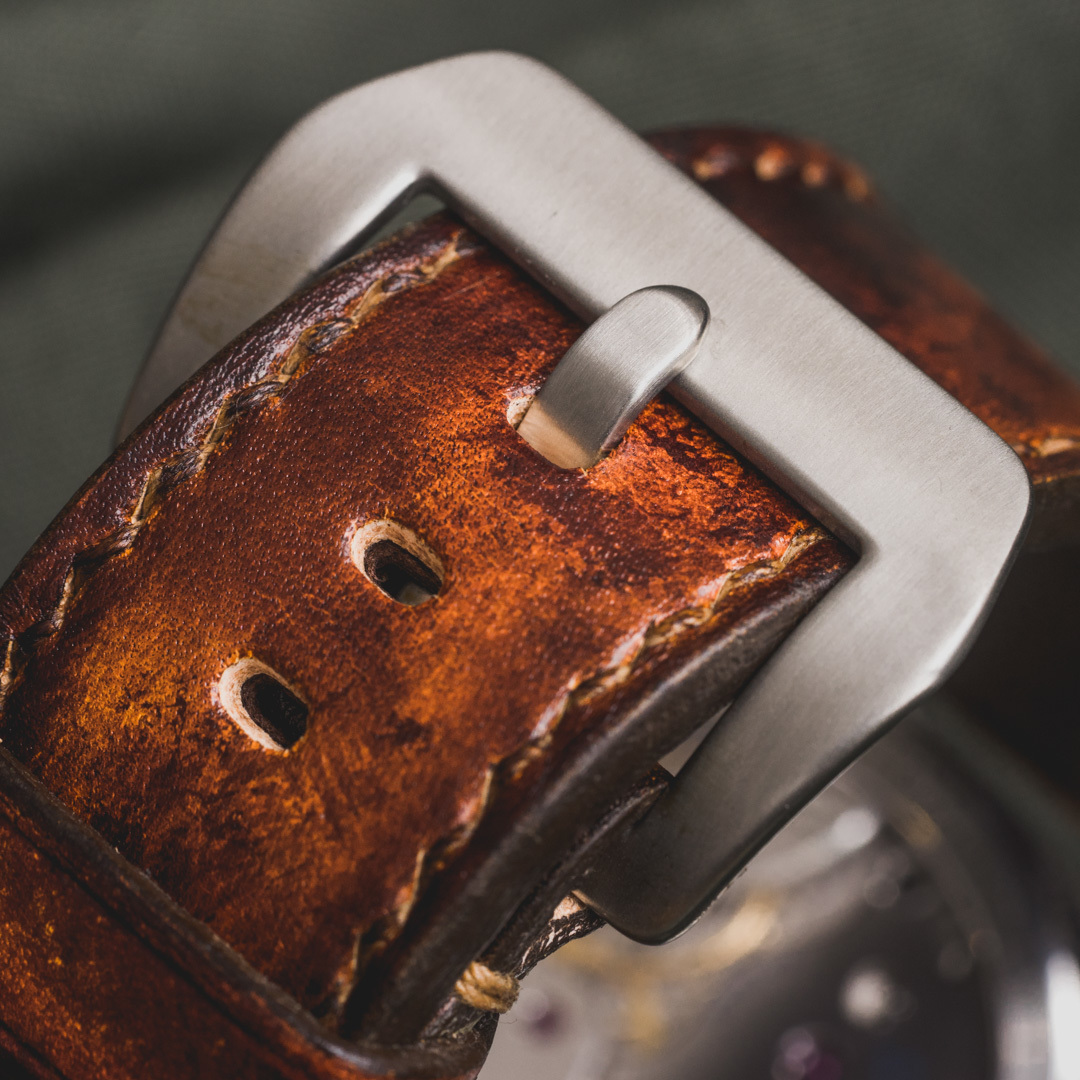 """""""CAMOUFLAGE"""" HAND-DYED COWHIDE LEATHER STRAP, BURNING SUN (for Panerai)"""
