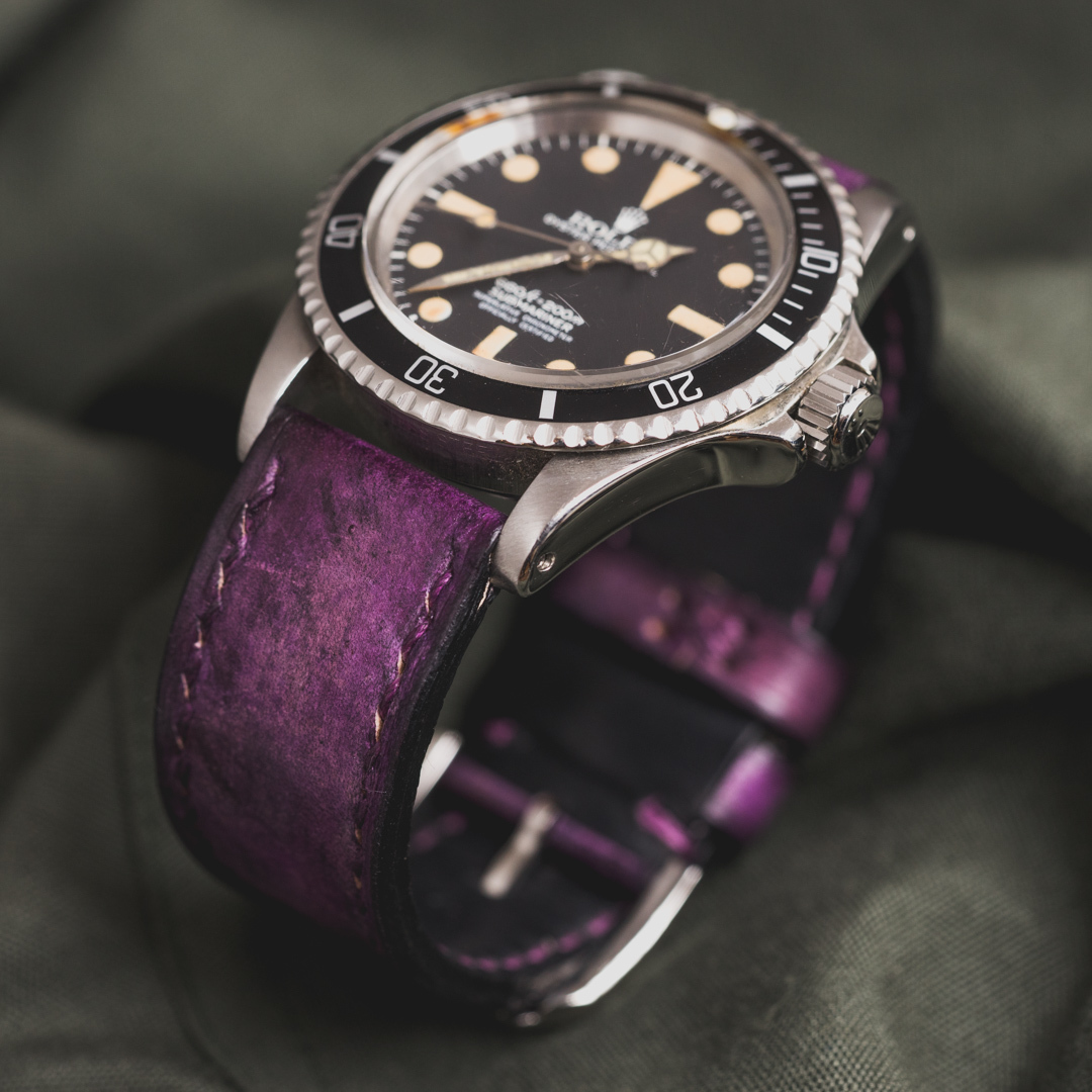 """CAMOUFLAGE"" HAND-DYED COWHIDE LEATHER STRAP, MYSTIQUE PURPLE (for Rolex)"