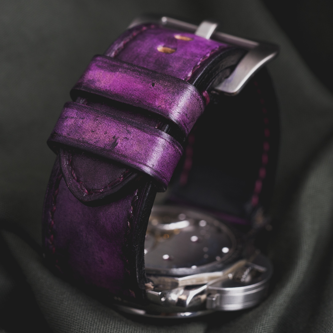 """CAMOUFLAGE"" HAND-DYED COWHIDE LEATHER STRAP, MYSTIQUE PURPLE (for Panerai)"