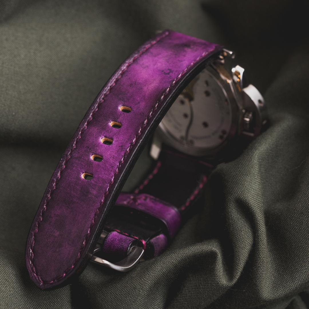 """""""CAMOUFLAGE"""" HAND-DYED COWHIDE LEATHER STRAP, MYSTIQUE PURPLE (for Panerai)"""