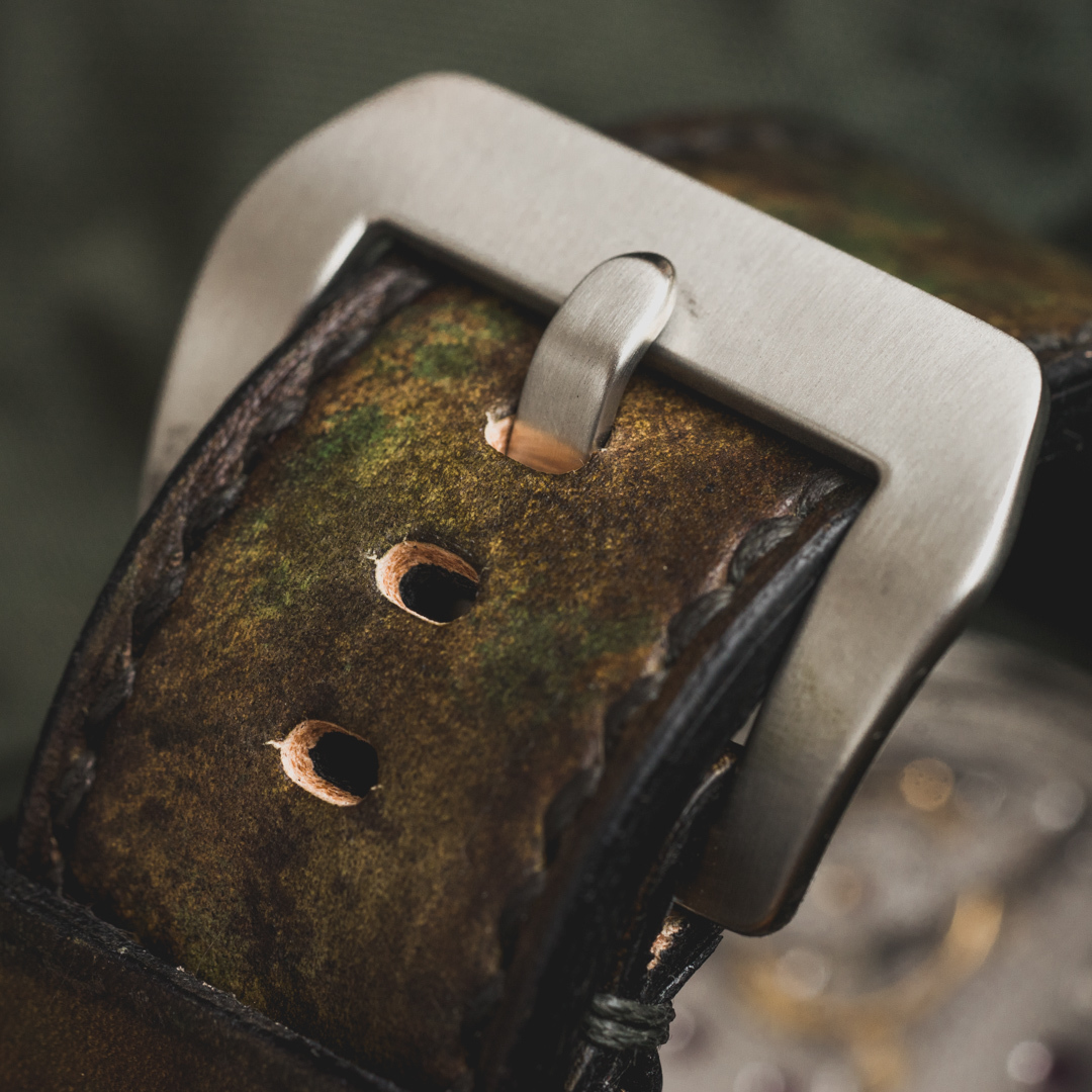 """CAMOUFLAGE"" HAND-DYED COWHIDE LEATHER STRAP, WOODLAND CAMO (for Panerai)"