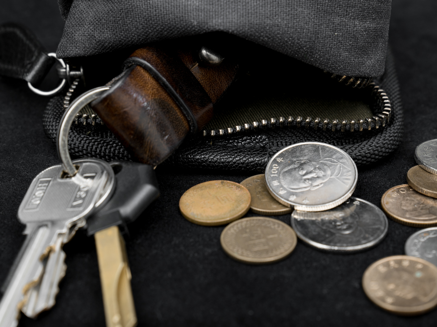 Zippered pocket module for keys and coin change.