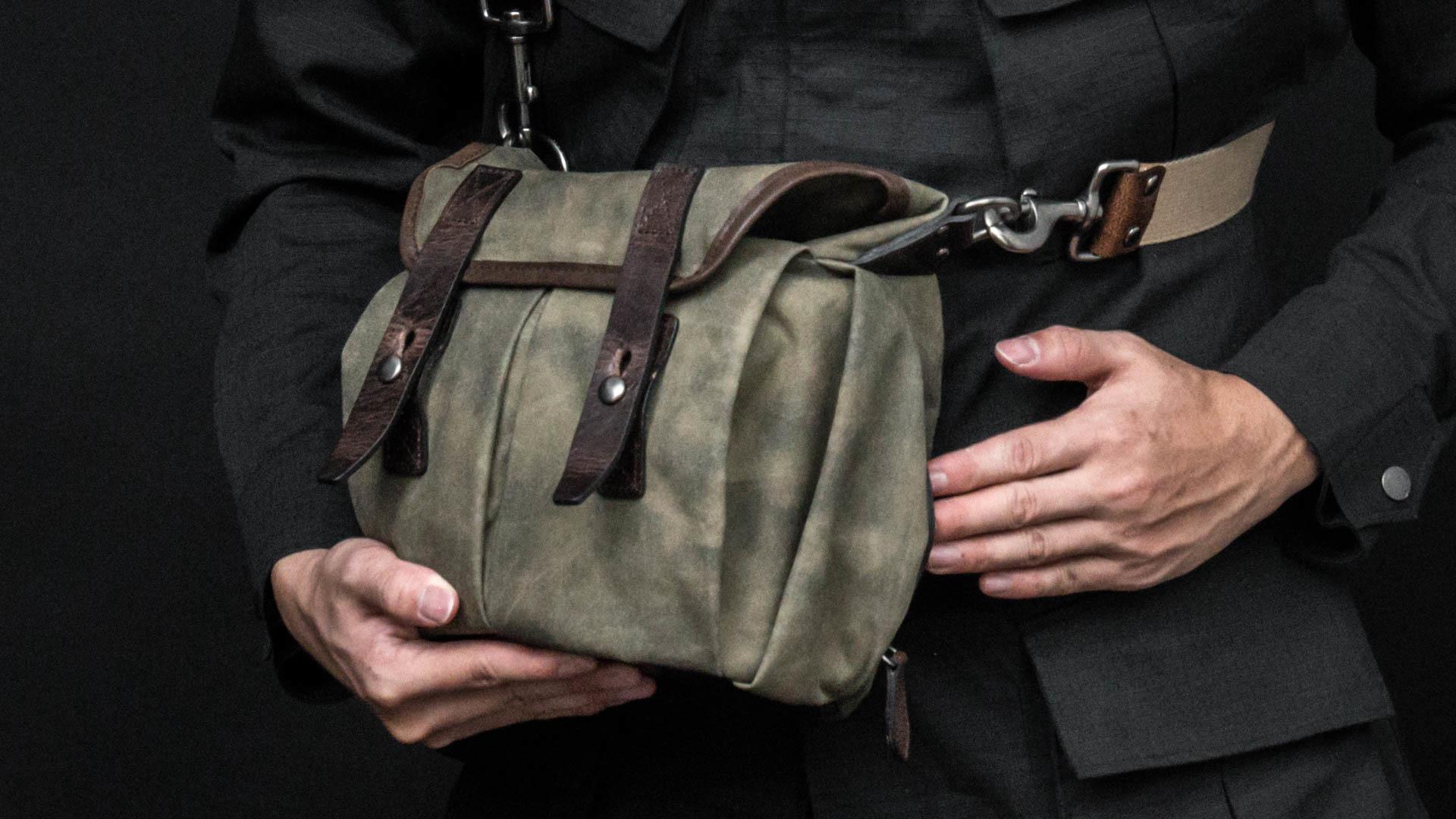 Angled hidden pocket.
