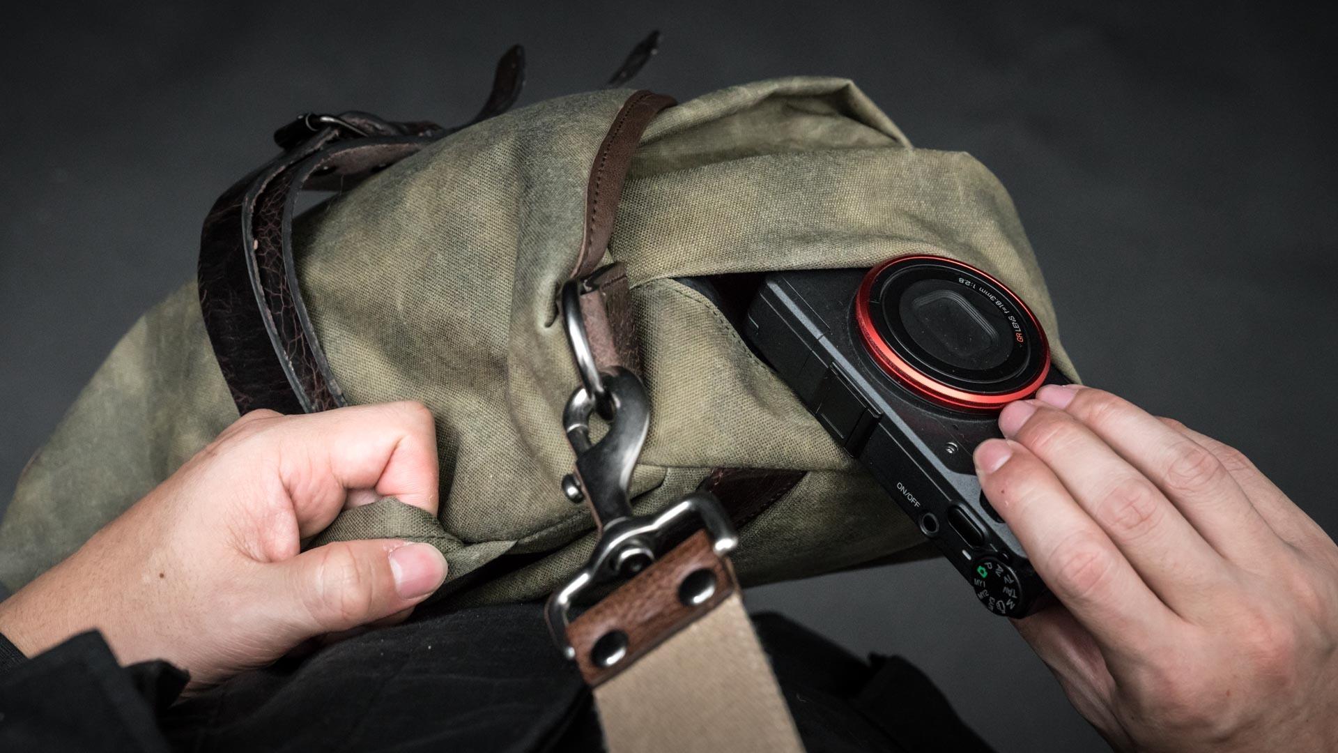 Ricoh GR in side pocket.