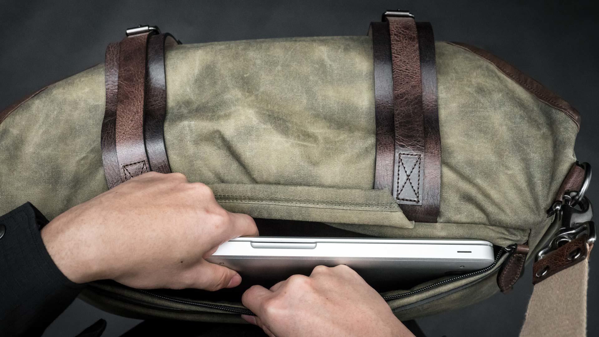 Laptop in back pocket.