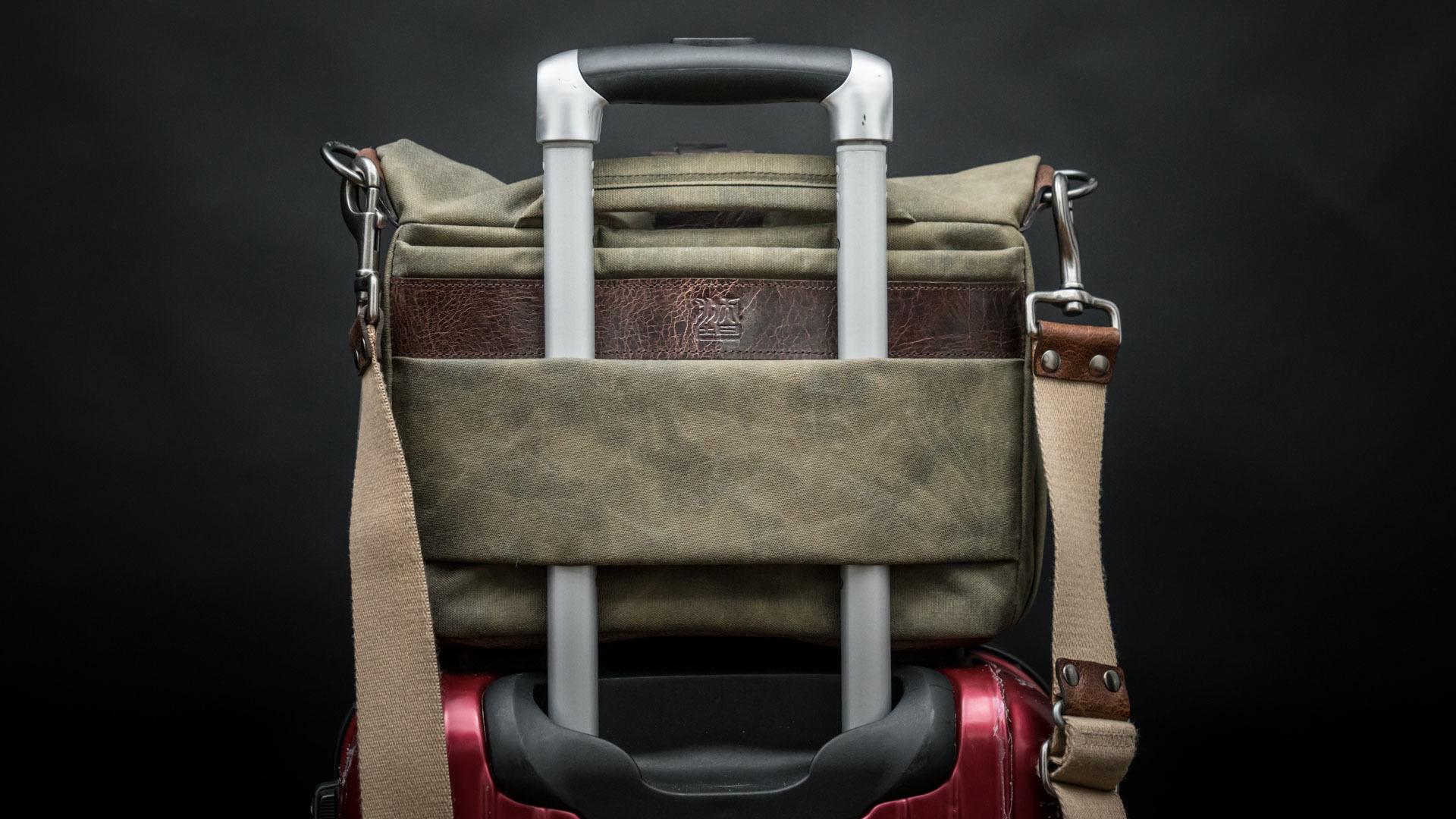 Mounted on luggage handle bar.