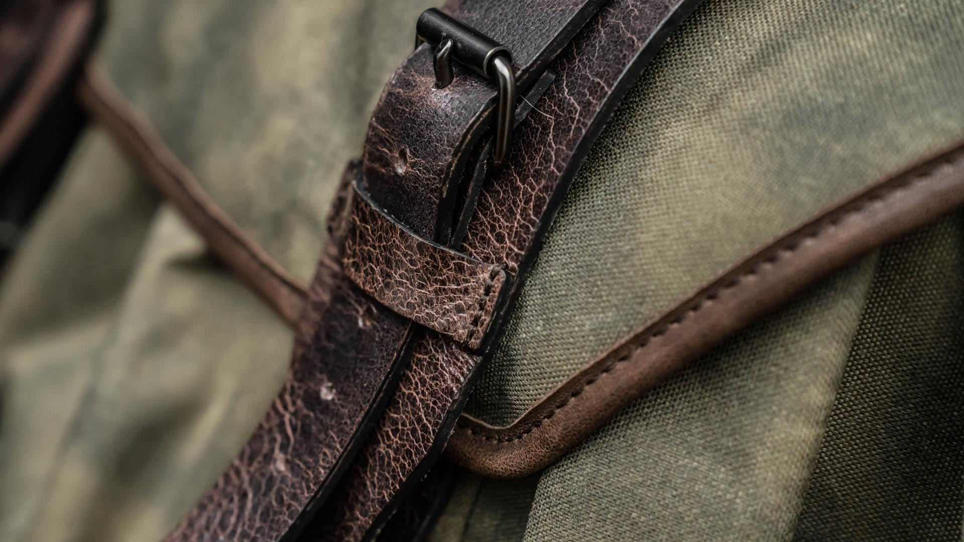 Leather front straps.