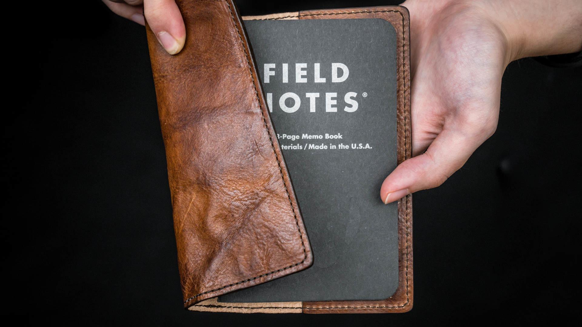 WOTANCRAFT 皮革書套 + 美國 FIELD NOTES 筆記本(褐)