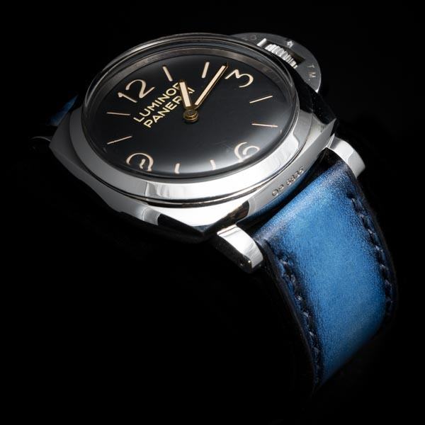 HAND-DYED COWHIDE STRAP (deep sea blue, for Panerai)