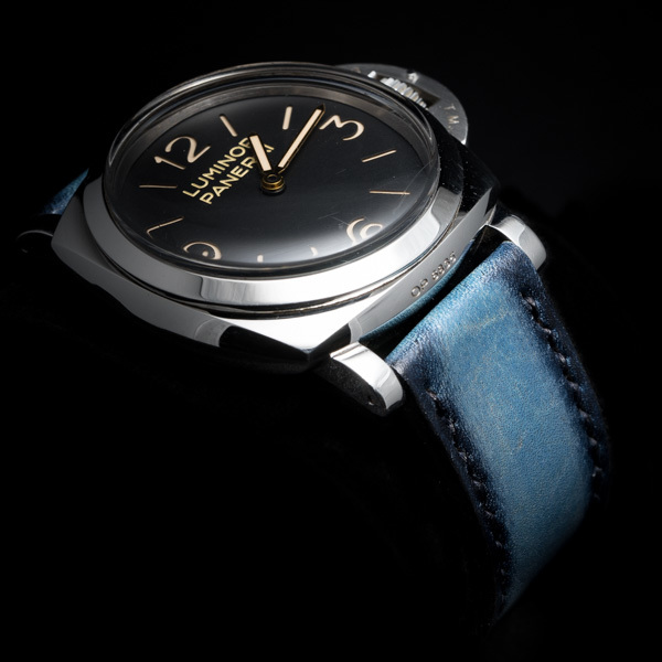 HAND-DYED COWHIDE STRAP (lake blue, for Panerai)