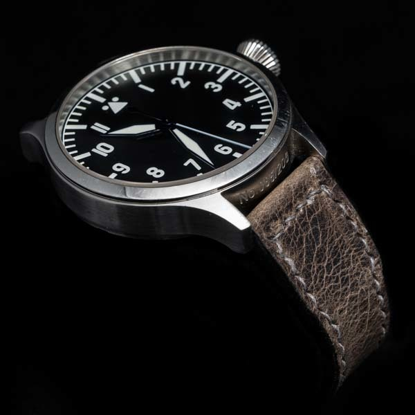 ANILINE COWHIDE STRAP, CREASED (Tea brown , for IWC)