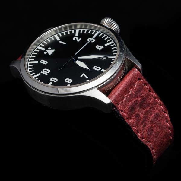 ANILINE COWHIDE STRAP, CREASED (Burgundy , for IWC)