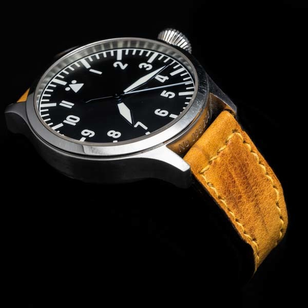 ANILINE COWHIDE STRAP, CREASED (Yellow, for IWC)