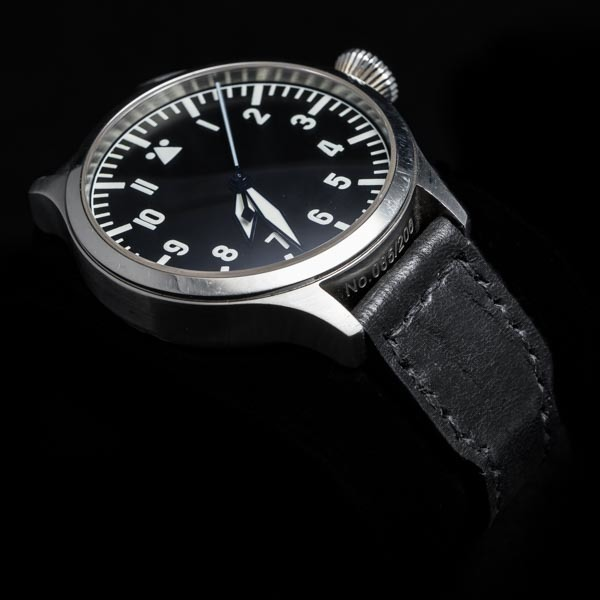ANILINE COWHIDE STRAP, CREASED (Black, for IWC)