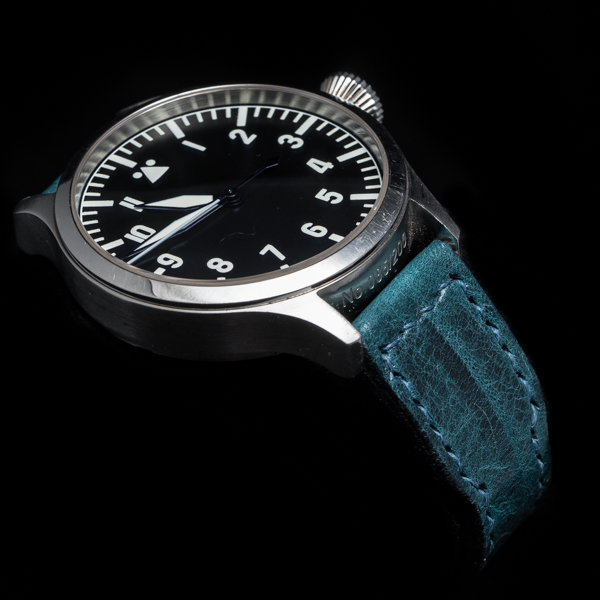ANILINE COWHIDE STRAP, CREASED (Deep blue, for IWC)