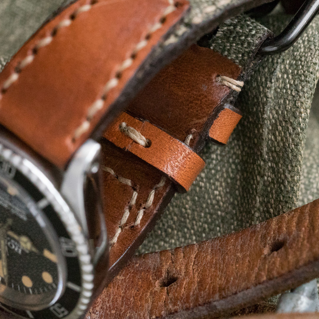 """SALT & PEPPER"" SWISS ARMY RUCKSACK HANDMADE CANVAS STRAP, NO STAMP (for Rolex)"