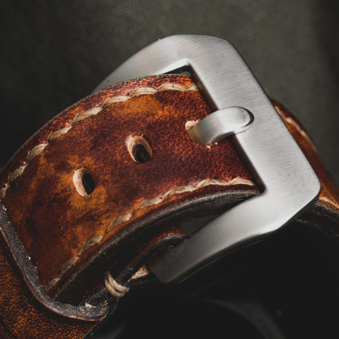"""""""CAMOUFLAGE"""" HAND-DYED COWHIDE LEATHER STRAP, BURNING SUN (for appleWatch)"""